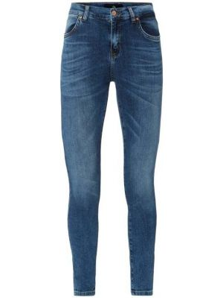 Niebieskie jeansy bawełniane z cekinami Ltb