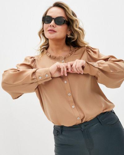 С рукавами коричневая блузка с длинным рукавом Zizzi