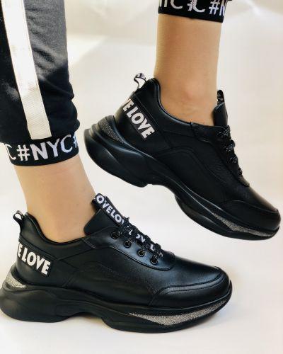 Кожаные кроссовки - черные Evromoda