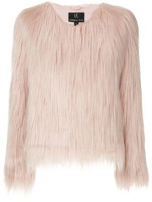Różowa długa kurtka z długimi rękawami perły Unreal Fur