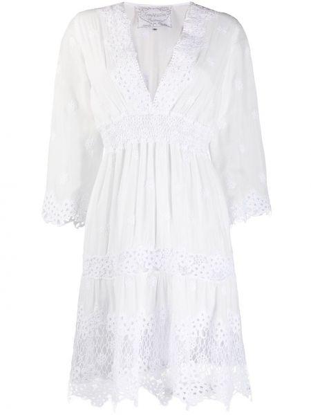 Шелковое ажурное платье с вышивкой на молнии Temptation Positano