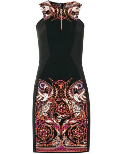 Платье с V-образным вырезом - черное Versace Collection