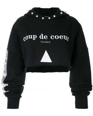 Черный топ с капюшоном Coup De Coeur