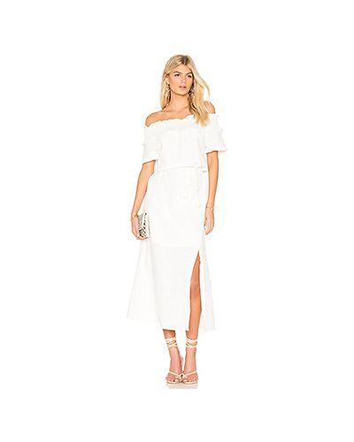 Платье с поясом с бахромой шелковое Line & Dot
