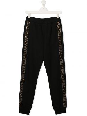 Czarne spodnie bawełniane Young Versace