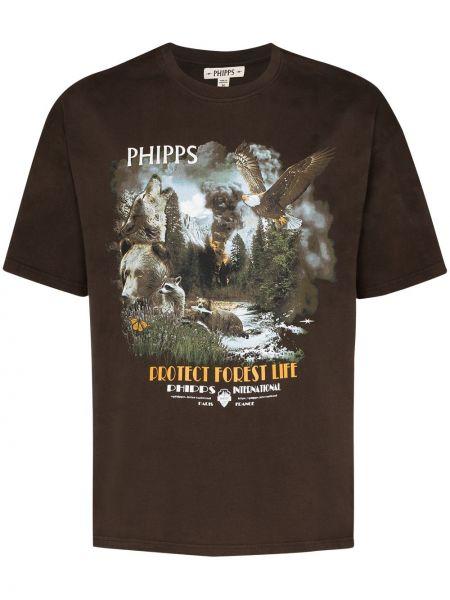 Хлопковая коричневая футболка Phipps