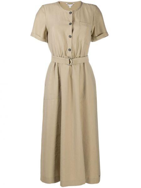 С рукавами платье миди с поясом с вырезом Tommy Hilfiger