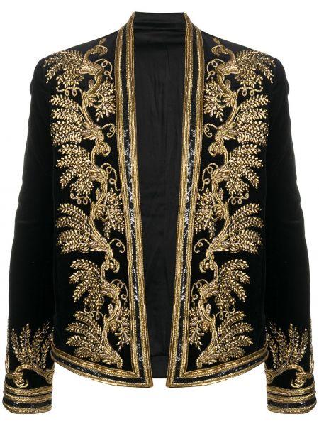 Бархатный черный удлиненный пиджак с вышивкой Balmain