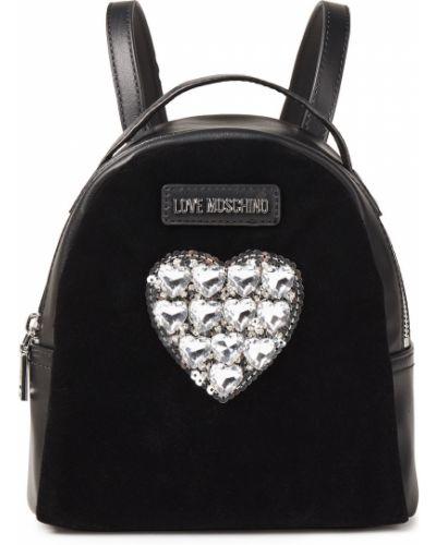 Czarny plecak z cekinami srebrny Love Moschino