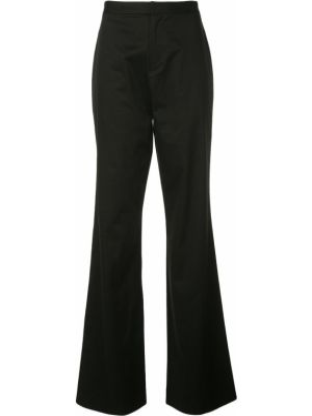 Хлопковые черные расклешенные свободные брюки с поясом Natori