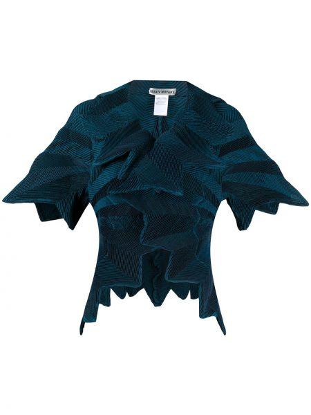 Синий короткая куртка с короткими рукавами с воротником Issey Miyake