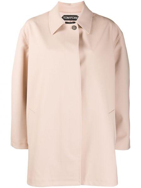Шерстяное розовое кожаное пальто оверсайз с воротником Tom Ford