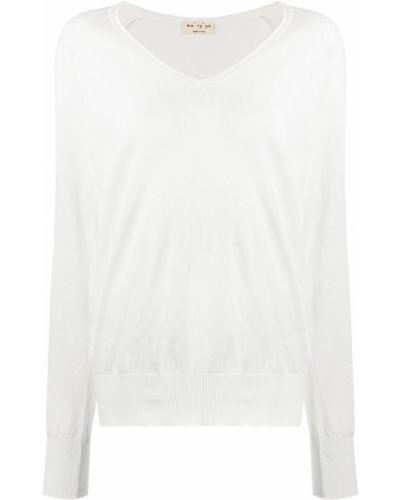 Белый вязаный длинный свитер с V-образным вырезом Ma'ry'ya