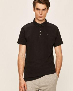 Czarny t-shirt bawełniany zapinane na guziki Clean Cut Copenhagen