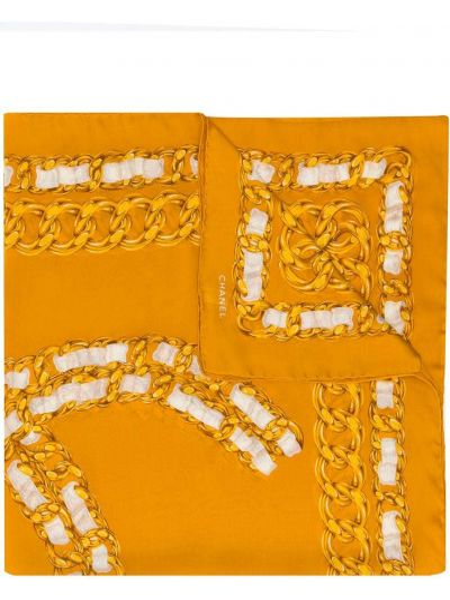 Желтый шелковый платок Chanel Pre-owned