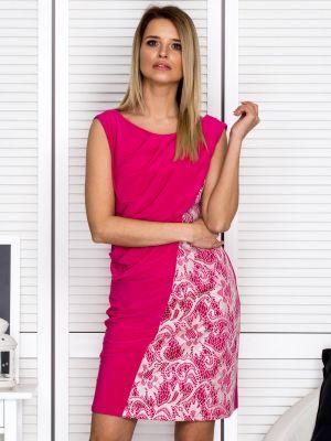 Różowa sukienka wieczorowa sylwestrowa z wiskozy Fashionhunters