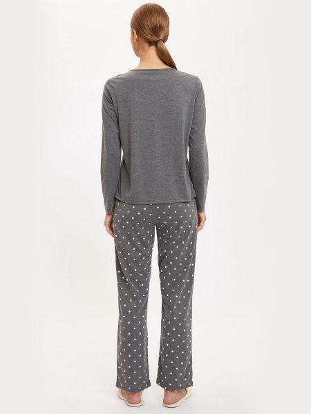 Пижамная серая хлопковая пижама с брюками Defacto