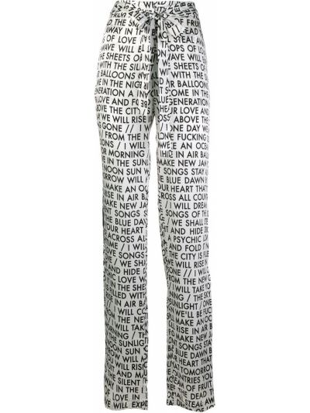 Białe spodnie z jedwabiu z printem Each X Other