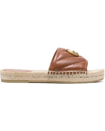 Brązowe złote sandały peep toe Gucci