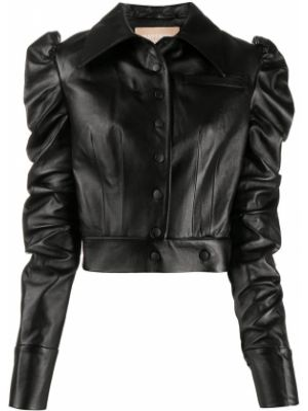 Кожаная куртка черная на пуговицах Materiel