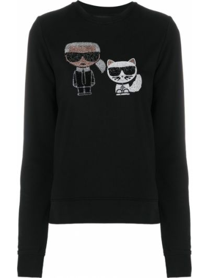 Хлопковая с рукавами черная толстовка Karl Lagerfeld