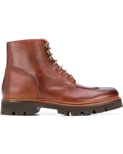 Кожаные коричневые кожаные ботинки на шнуровке с подкладкой Grenson