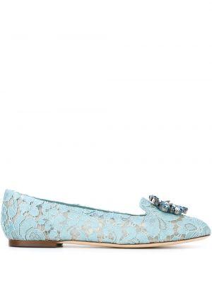 Синие хлопковые слиперы на плоской подошве с тиснением Dolce & Gabbana