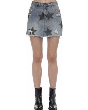 Джинсовая юбка на пуговицах с цветочным принтом The People Vs