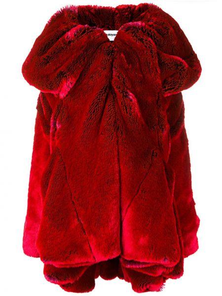 Красное длинное пальто с капюшоном свободного кроя Chalayan