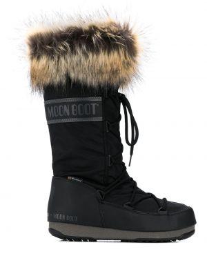Сапоги на шнуровке - черные Moon Boot