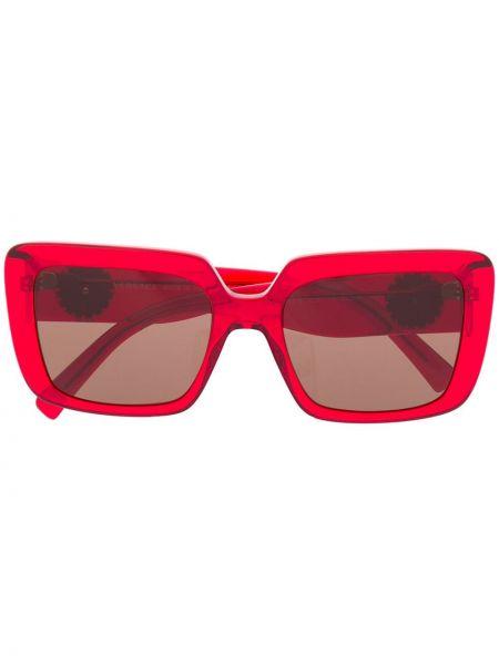 Красные солнцезащитные очки металлические прямоугольные Versace Eyewear