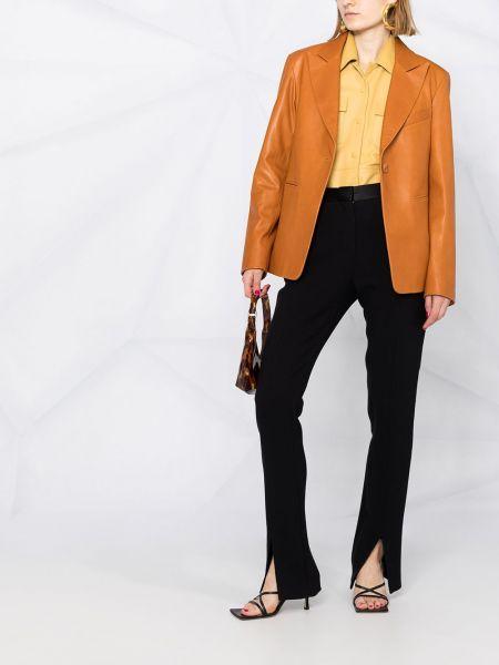 Однобортный коричневый кожаный удлиненный пиджак Drome