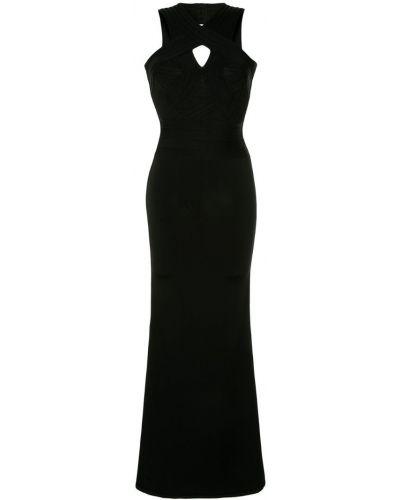 Платье с открытой спиной - черное Herv Lger