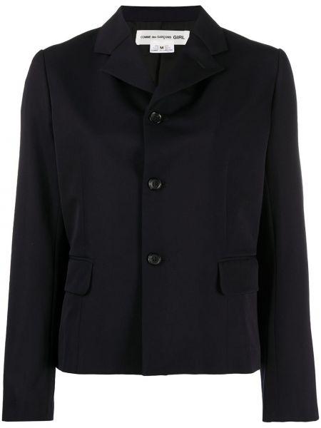 Однобортный синий удлиненный пиджак с карманами Comme Des Garçons Girl