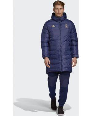 Флисовая футбольная клубная куртка с капюшоном с карманами Adidas