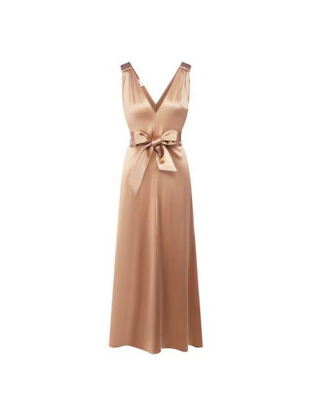 Вечернее платье миди с поясом Brunello Cucinelli