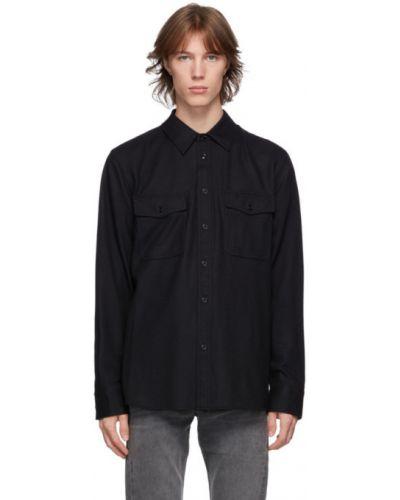 Czarna długa kurtka wełniana z długimi rękawami Rag & Bone