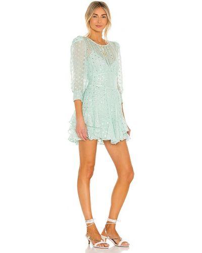 Шелковое платье мини с подкладкой мятное For Love & Lemons