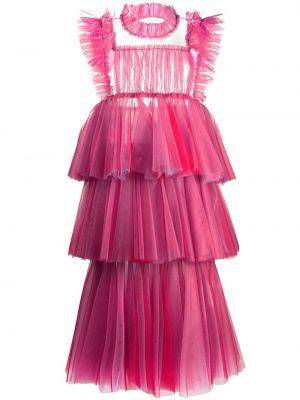 Красное платье миди из фатина без рукавов с вырезом Viktor & Rolf