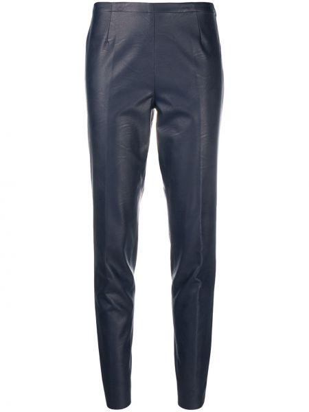 Кожаные синие зауженные брюки с декоративной отделкой Stefano Mortari