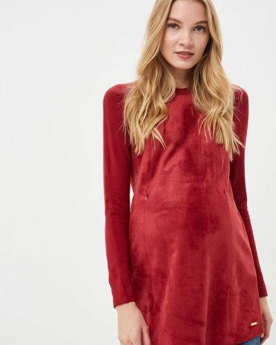 Блузка с длинным рукавом бордовый осенняя Budumamoy