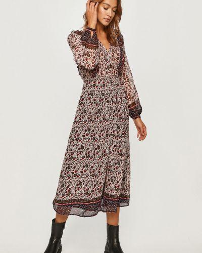 Sukienka midi z falbanami z długimi rękawami na co dzień Pepe Jeans