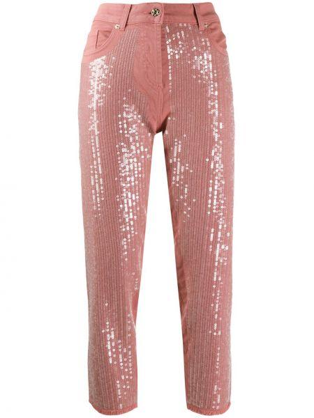 Розовые прямые укороченные джинсы с карманами Blumarine