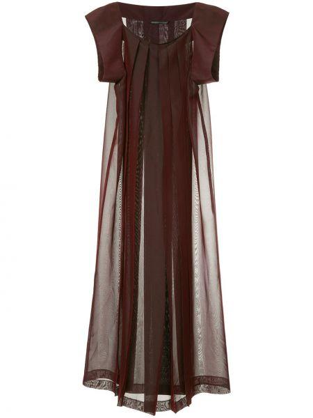 Красное шелковое плиссированное платье макси винтажное Yohji Yamamoto Pre-owned