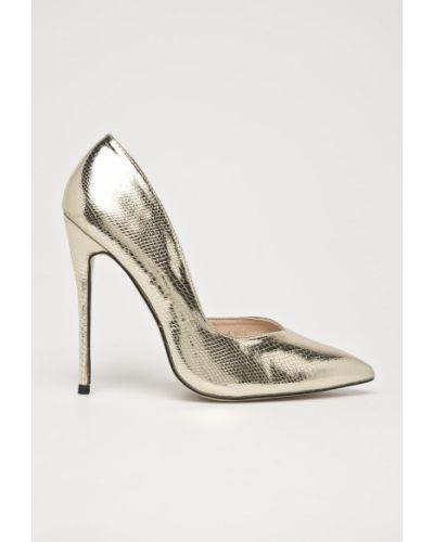 Туфли на каблуке на шпильке золотые Public Desire