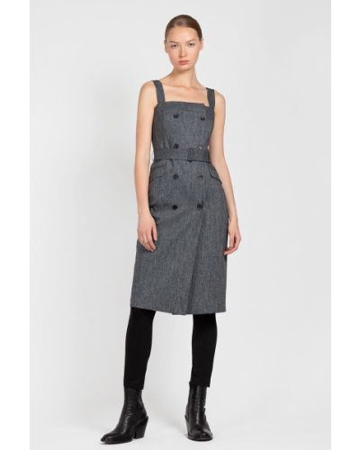 Платье с поясом серое платье-сарафан Vassa&co