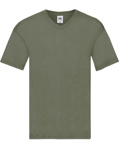 Зеленая футболка с вырезом с воротником Fruit Of The Loom