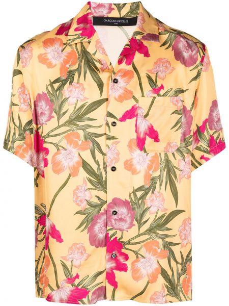 Koszula krótki rękaw w kwiaty z wiskozy Garçons Infideles
