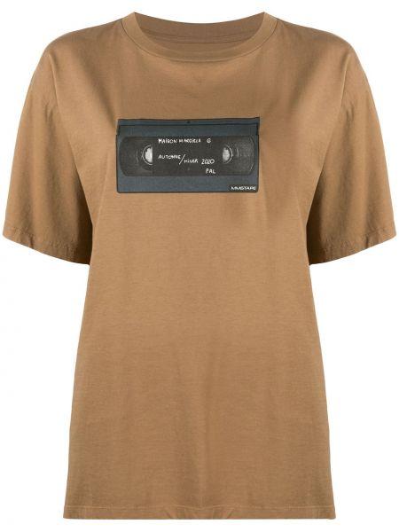 Bawełna prosto koszula z krótkim rękawem włosy wielbłąda okrągły dekolt Mm6 Maison Margiela