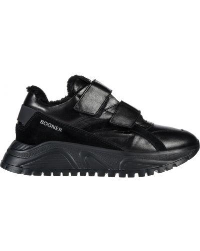 Кроссовки на платформе замшевые черные Bogner